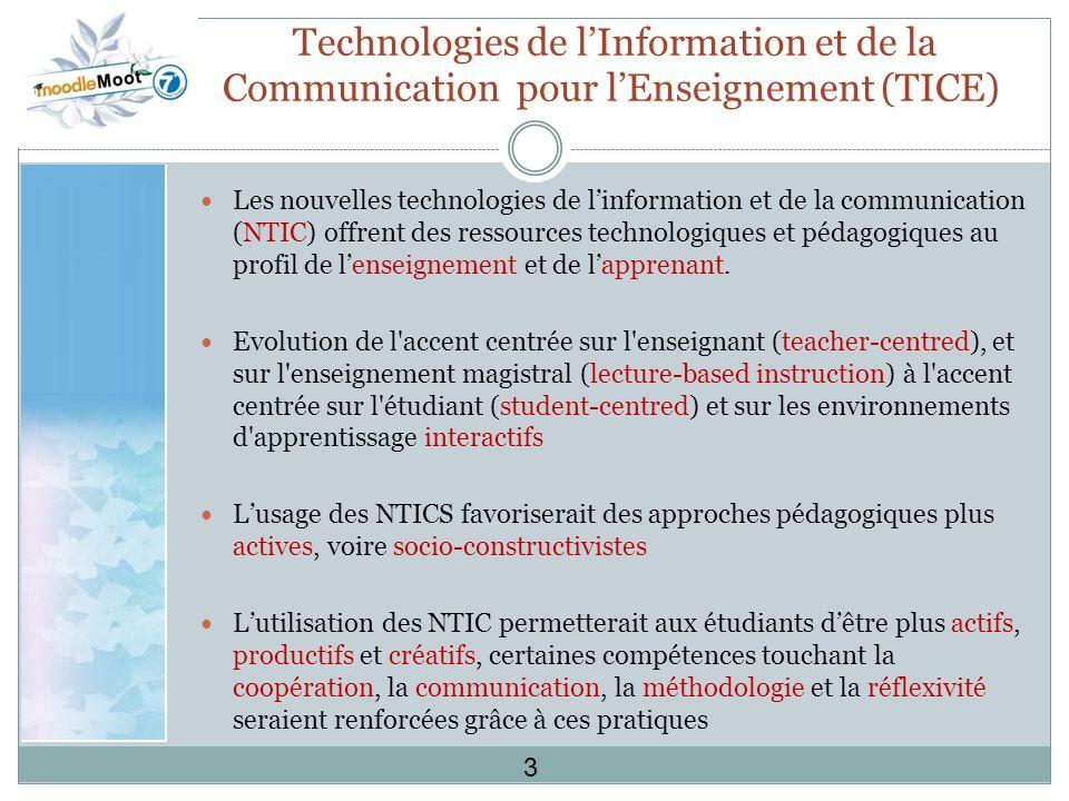Technologies de lInformation et de la Communication pour lEnseignement (TICE) Les nouvelles technologies de linformation et de la communication (NTIC) offrent des ressources technologiques et pédagogiques au profil de lenseignement et de lapprenant.