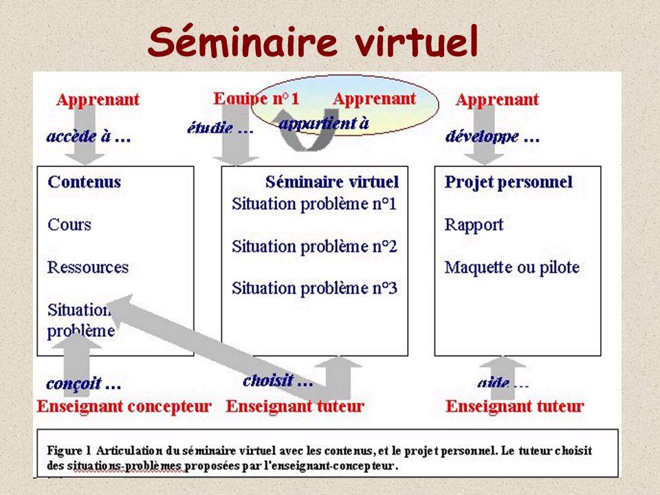 Déroulement dun cours : point de vue du tuteur Travail individuel rappelle les délais, les RDV, répond aux problèmes et questions individuelles évalue