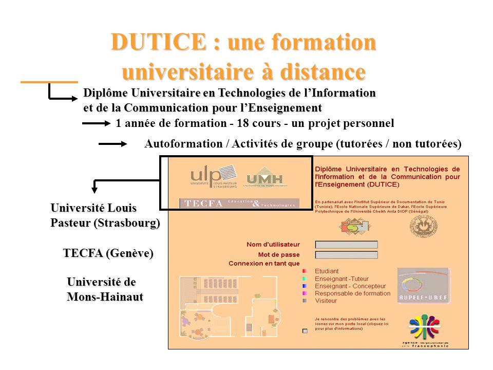 1 année de formation - 18 cours - un projet personnel DUTICE : une formation universitaire à distance Diplôme Universitaire en Technologies de lInformation et de la Communication pour lEnseignement Autoformation / Activités de groupe (tutorées / non tutorées) Université Louis Pasteur (Strasbourg) TECFA (Genève) Université de Mons-Hainaut