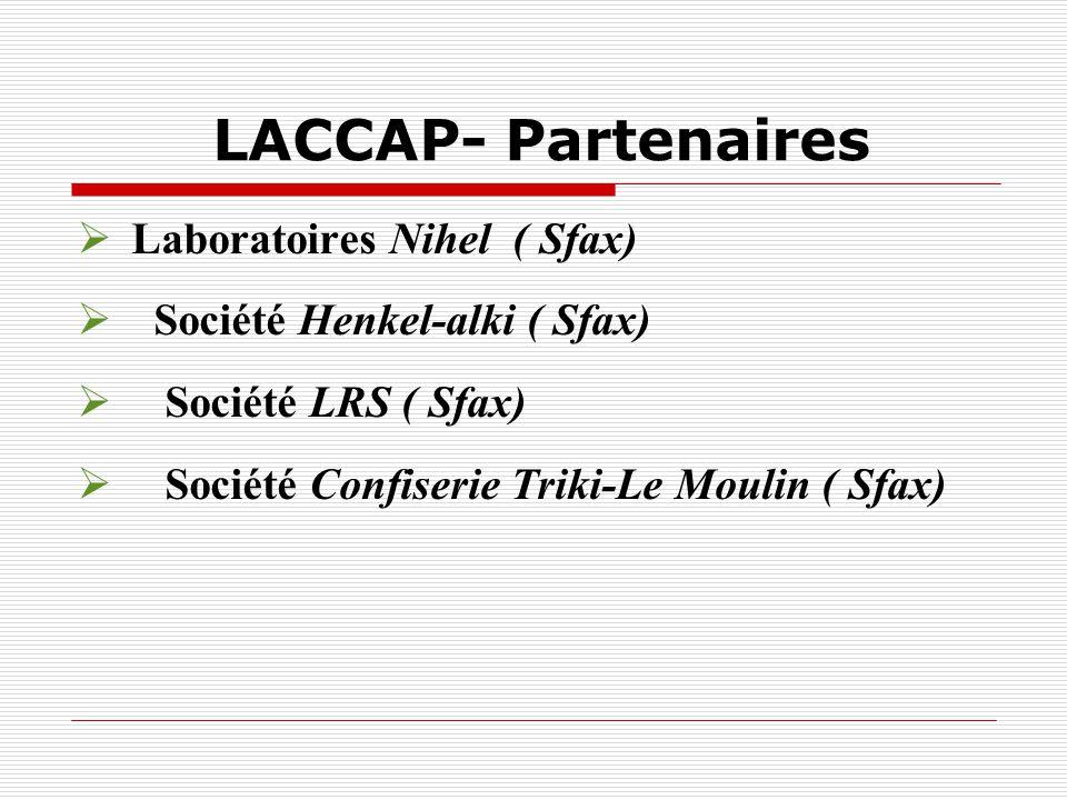 LACCAP- Partenaires Laboratoires Nihel ( Sfax) Société Henkel-alki ( Sfax) Société LRS ( Sfax) Société Confiserie Triki-Le Moulin ( Sfax)