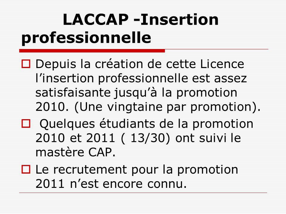 LACCAP -Insertion professionnelle Depuis la création de cette Licence linsertion professionnelle est assez satisfaisante jusquà la promotion 2010. (Un