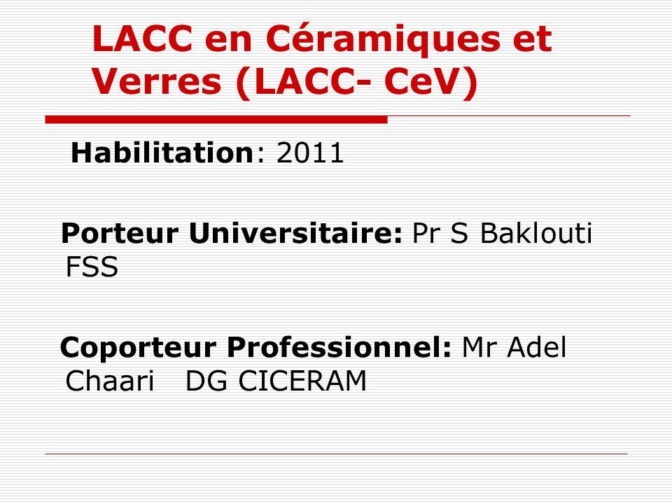 LACC en Céramiques et Verres (LACC- CeV) Habilitation: 2011 Porteur Universitaire: Pr S Baklouti FSS Coporteur Professionnel: Mr Adel Chaari DG CICERA