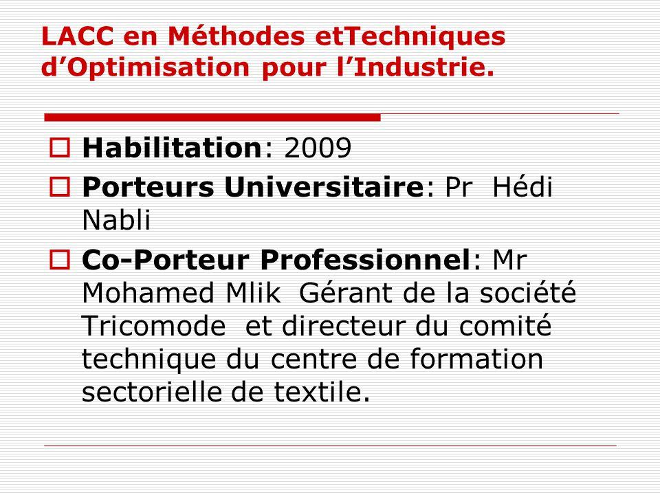 LACC en Méthodes etTechniques dOptimisation pour lIndustrie. Habilitation: 2009 Porteurs Universitaire: Pr Hédi Nabli Co-Porteur Professionnel: Mr Moh