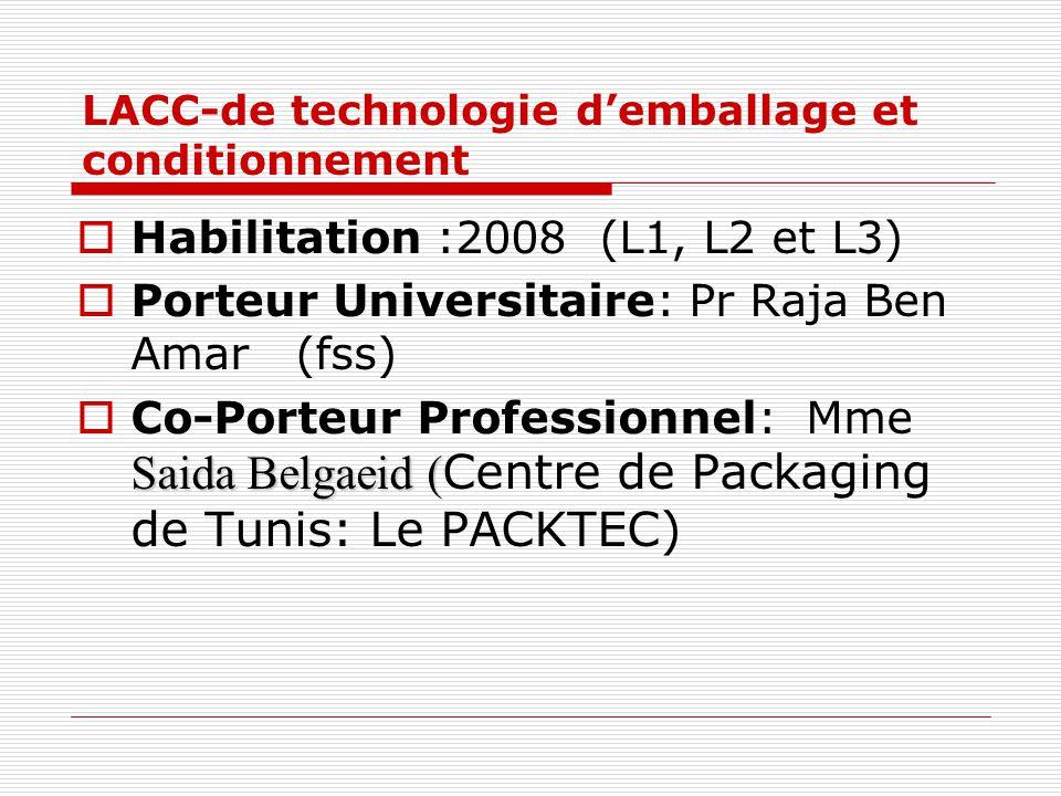 LACC-de technologie demballage et conditionnement Habilitation :2008 (L1, L2 et L3) Porteur Universitaire: Pr Raja Ben Amar (fss) Saida Belgaeid ( Co-