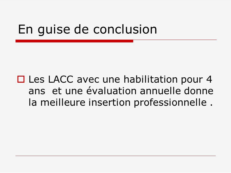 En guise de conclusion Les LACC avec une habilitation pour 4 ans et une évaluation annuelle donne la meilleure insertion professionnelle.