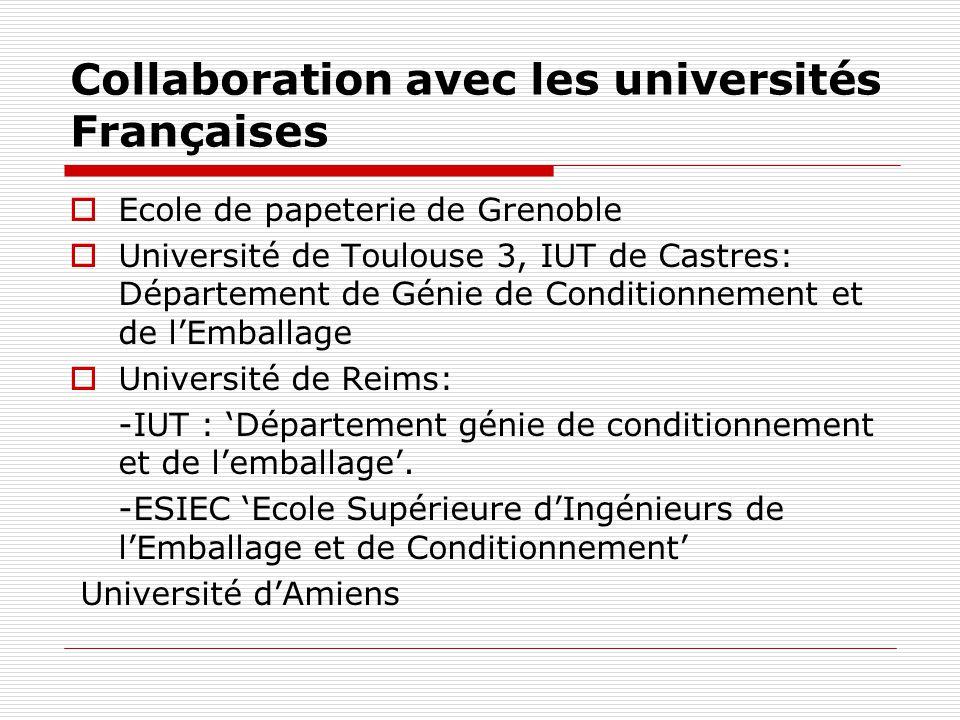 Collaboration avec les universités Françaises Ecole de papeterie de Grenoble Université de Toulouse 3, IUT de Castres: Département de Génie de Conditi