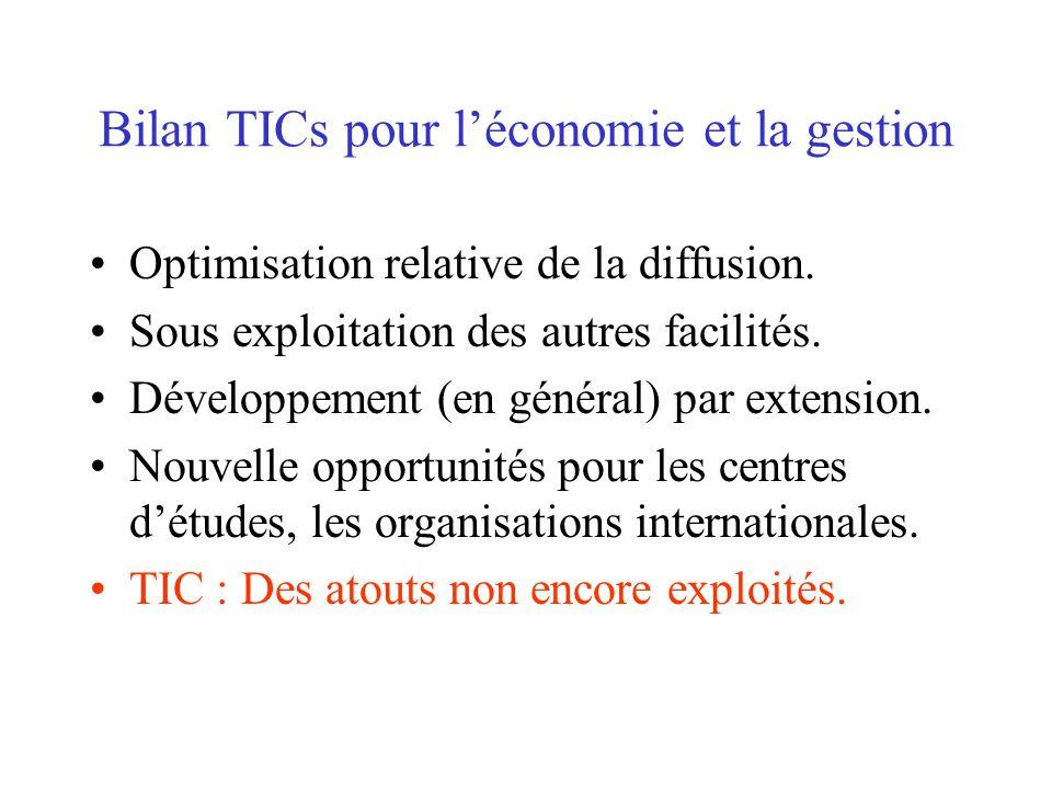 Bilan TICs pour léconomie et la gestion Optimisation relative de la diffusion.