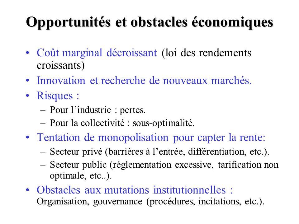 Opportunités et obstacles économiques Coût marginal décroissant (loi des rendements croissants) Innovation et recherche de nouveaux marchés.