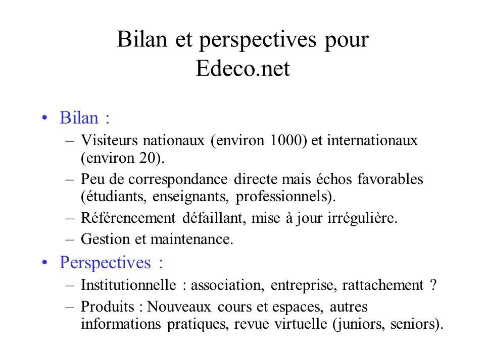 Bilan et perspectives pour Edeco.net Bilan : –Visiteurs nationaux (environ 1000) et internationaux (environ 20).