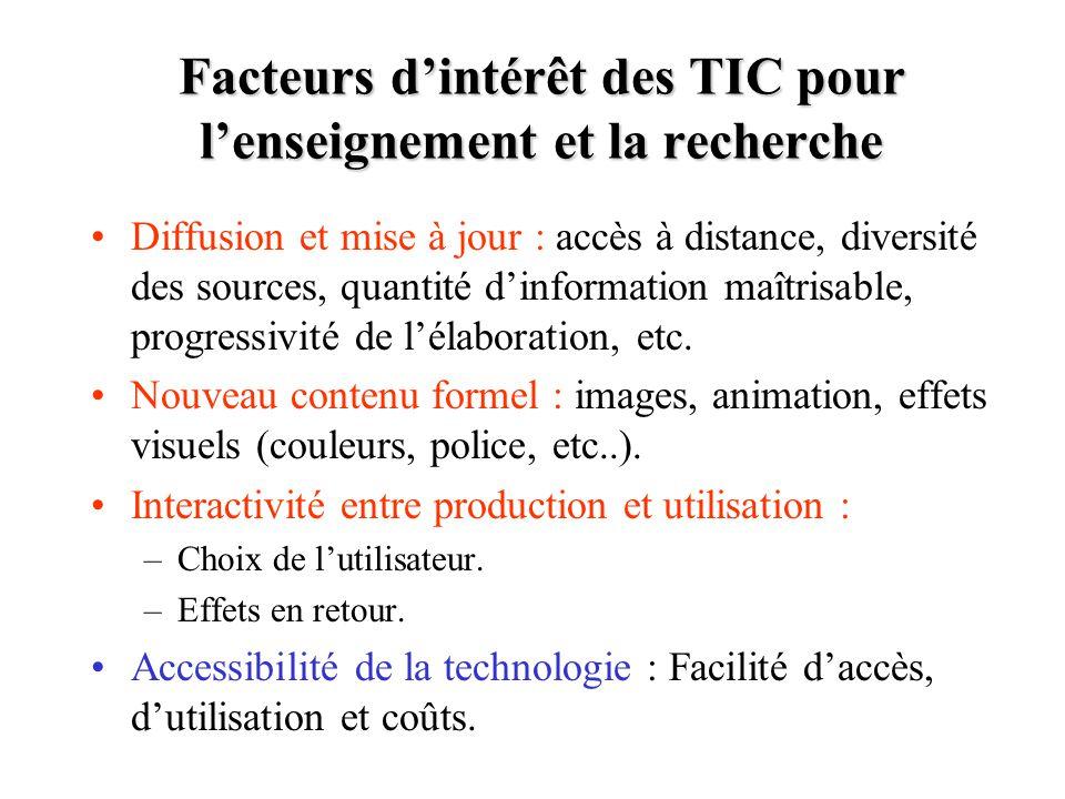 Facteurs dintérêt des TIC pour lenseignement et la recherche Diffusion et mise à jour : accès à distance, diversité des sources, quantité dinformation maîtrisable, progressivité de lélaboration, etc.