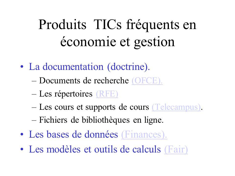 Produits TICs fréquents en économie et gestion La documentation (doctrine).