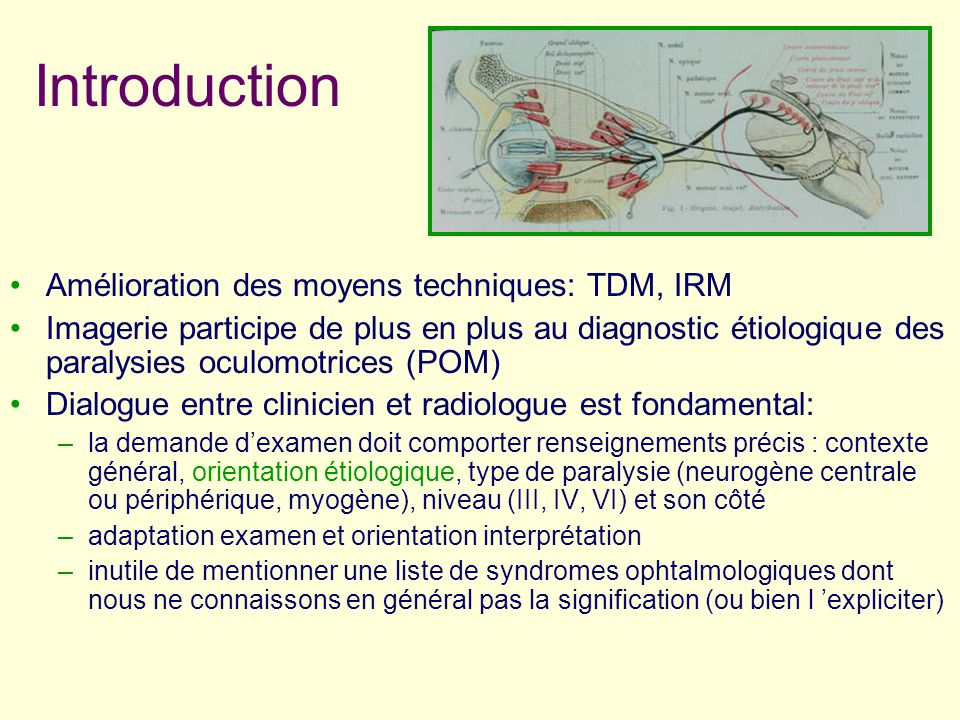 Introduction Amélioration des moyens techniques: TDM, IRM Imagerie participe de plus en plus au diagnostic étiologique des paralysies oculomotrices (P