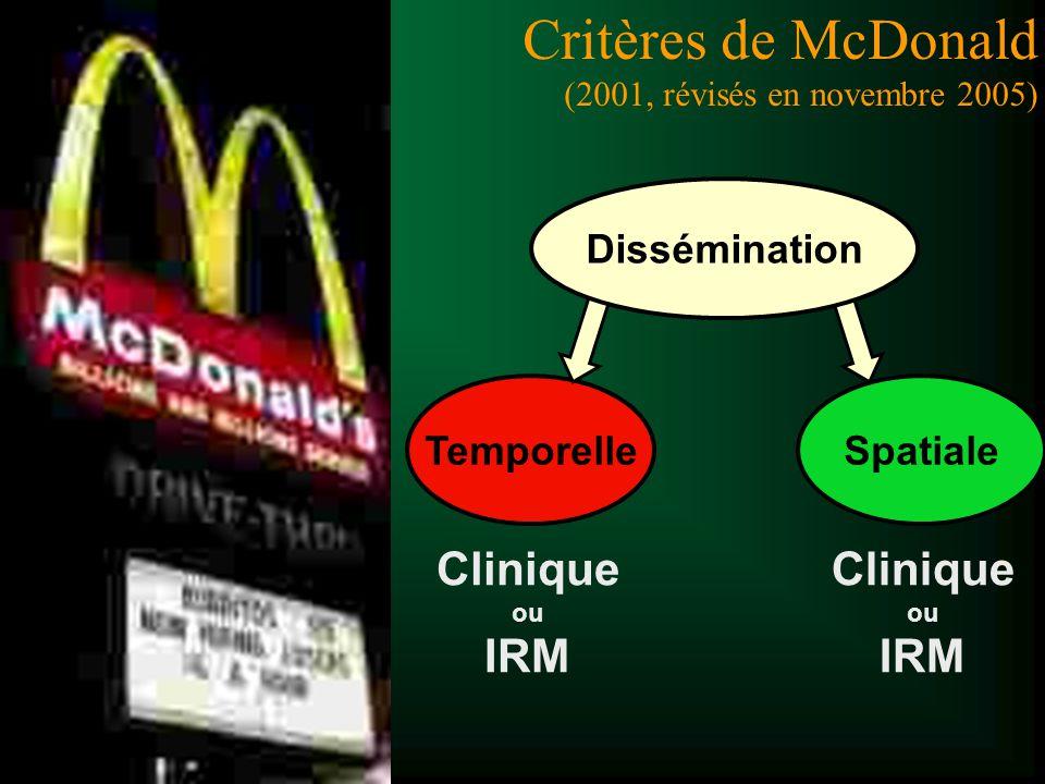 Comment poser le diagnostic de SEP ? Critères de McDonald (2001, révisés en novembre 2005) TemporelleSpatiale Dissémination Clinique ou IRM Clinique o