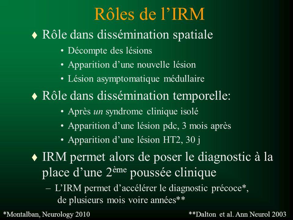 Lésion : ZHST2 > 3mm T1 normal ou hypo Lésion active : rehaussement Persiste 2 - 6 semaines Critères de McDonald (2001, révisés en novembre 2005) Imagerie