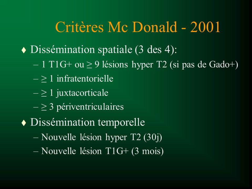 Critères Mc Donald - 2001 t Dissémination spatiale (3 des 4): –1 T1G+ ou 9 lésions hyper T2 (si pas de Gado+) – 1 infratentorielle – 1 juxtacorticale