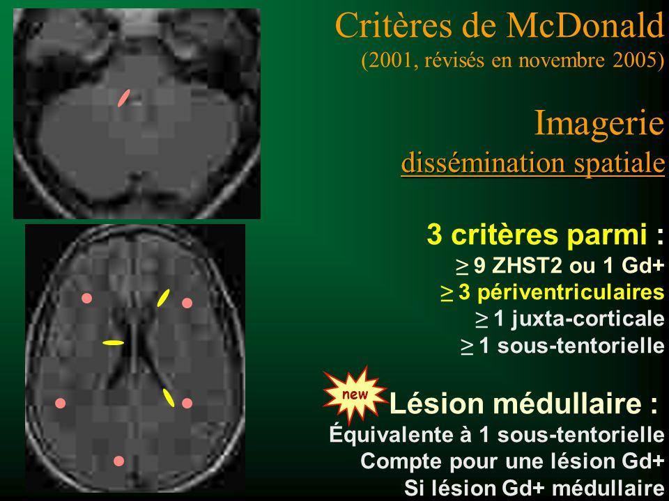 3 critères parmi : 9 ZHST2 ou 1 Gd+ 3 périventriculaires 1 juxta-corticale 1 sous-tentorielle Lésion médullaire : Équivalente à 1 sous-tentorielle Com
