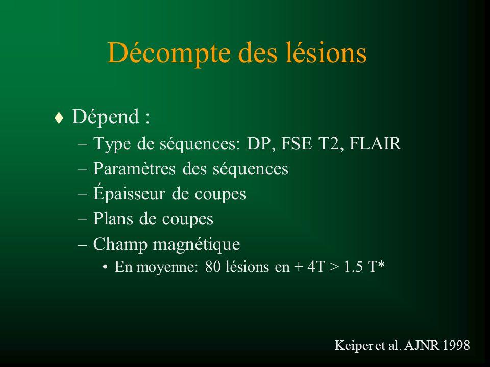 Décompte des lésions t Dépend : –Type de séquences: DP, FSE T2, FLAIR –Paramètres des séquences –Épaisseur de coupes –Plans de coupes –Champ magnétiqu