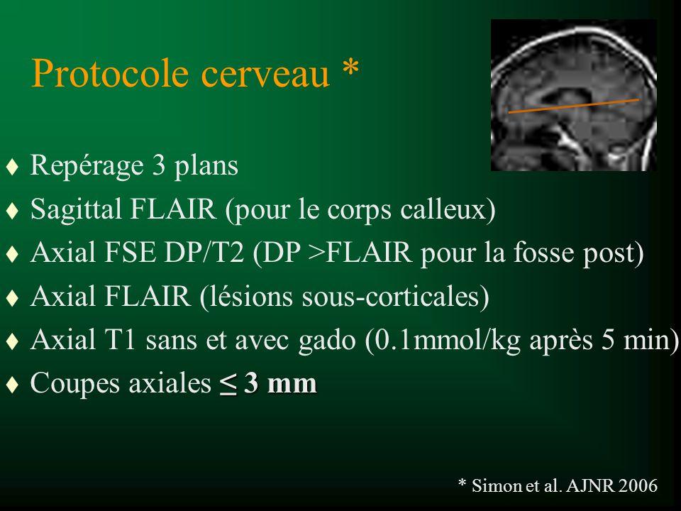 Protocole cerveau * t Repérage 3 plans t Sagittal FLAIR (pour le corps calleux) t Axial FSE DP/T2 (DP >FLAIR pour la fosse post) t Axial FLAIR (lésion