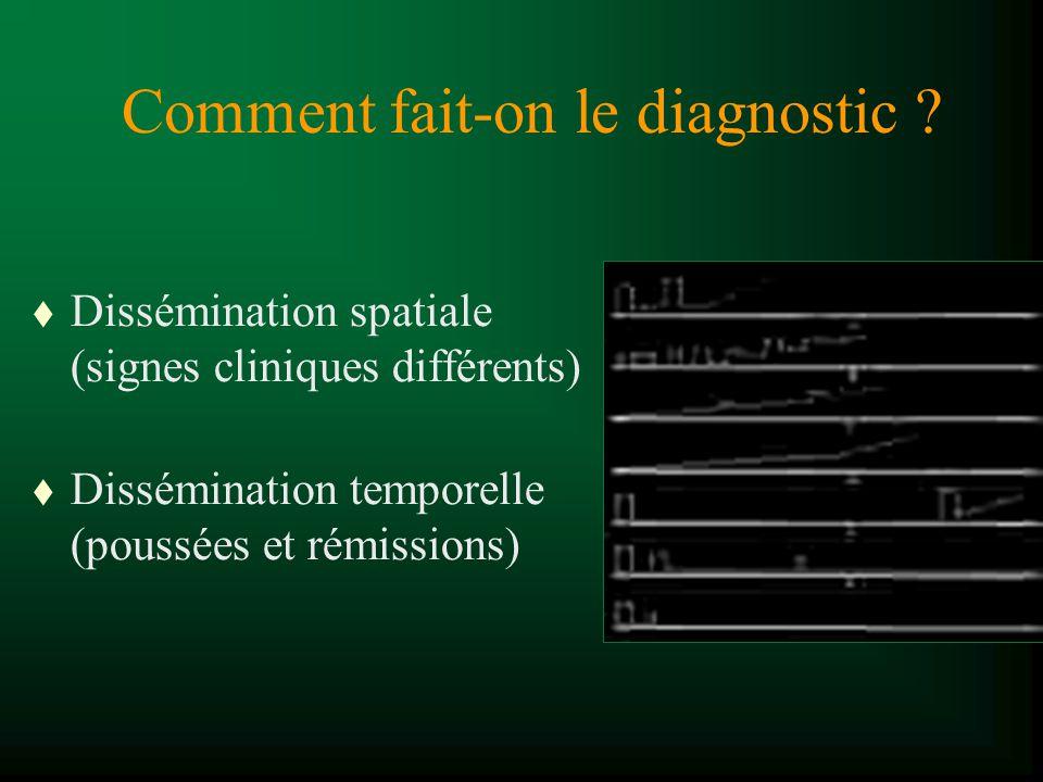 Comment fait-on le diagnostic ? t Dissémination spatiale (signes cliniques différents) t Dissémination temporelle (poussées et rémissions)