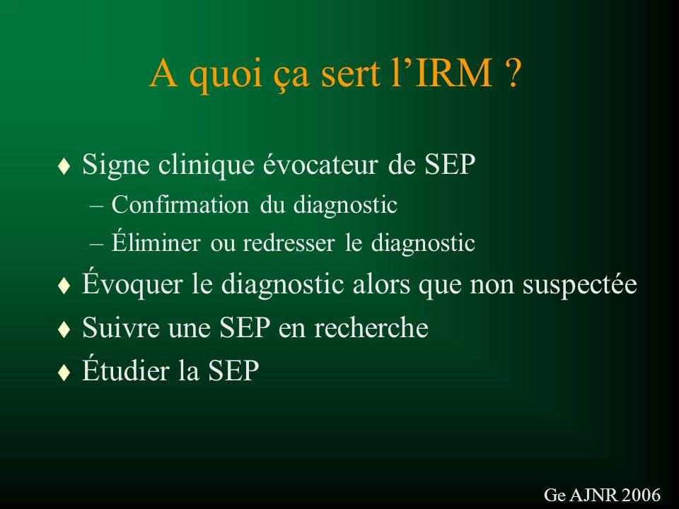 A quoi ça sert lIRM ? t Signe clinique évocateur de SEP –Confirmation du diagnostic –Éliminer ou redresser le diagnostic t Évoquer le diagnostic alors