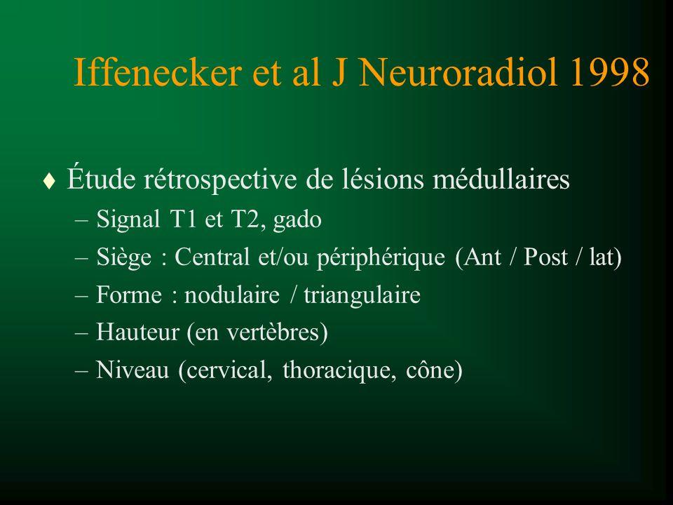 Iffenecker et al J Neuroradiol 1998 t Étude rétrospective de lésions médullaires –Signal T1 et T2, gado –Siège : Central et/ou périphérique (Ant / Pos