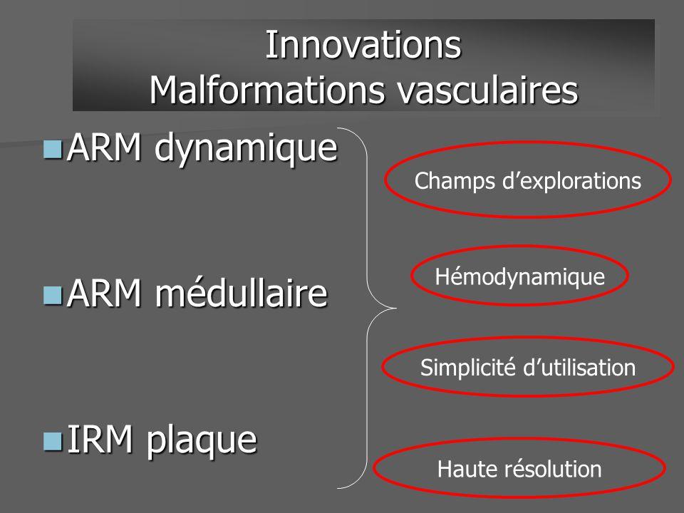 ARM dynamique ARM dynamique ARM médullaire ARM médullaire IRM plaque IRM plaque Innovations Malformations vasculaires Hémodynamique Simplicité dutilis