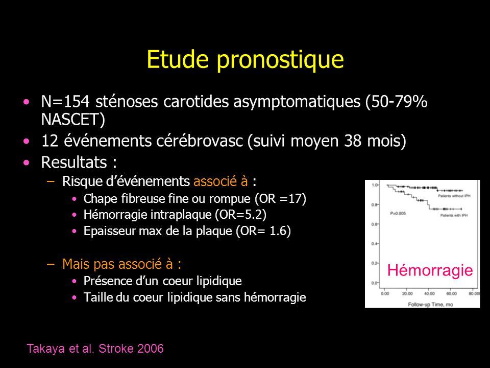 Etude pronostique N=154 sténoses carotides asymptomatiques (50-79% NASCET) 12 événements cérébrovasc (suivi moyen 38 mois) Resultats : –Risque dévénem