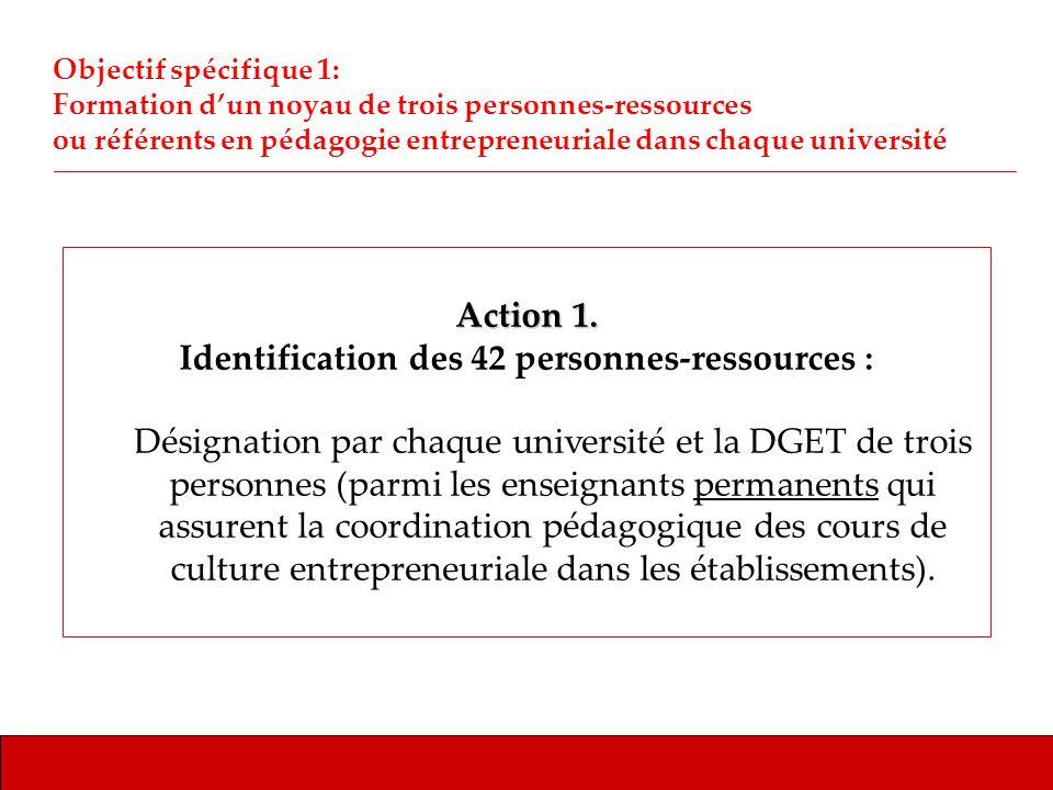 Action 1. Identification des 42 personnes-ressources : Désignation par chaque université et la DGET de trois personnes (parmi les enseignants permanen