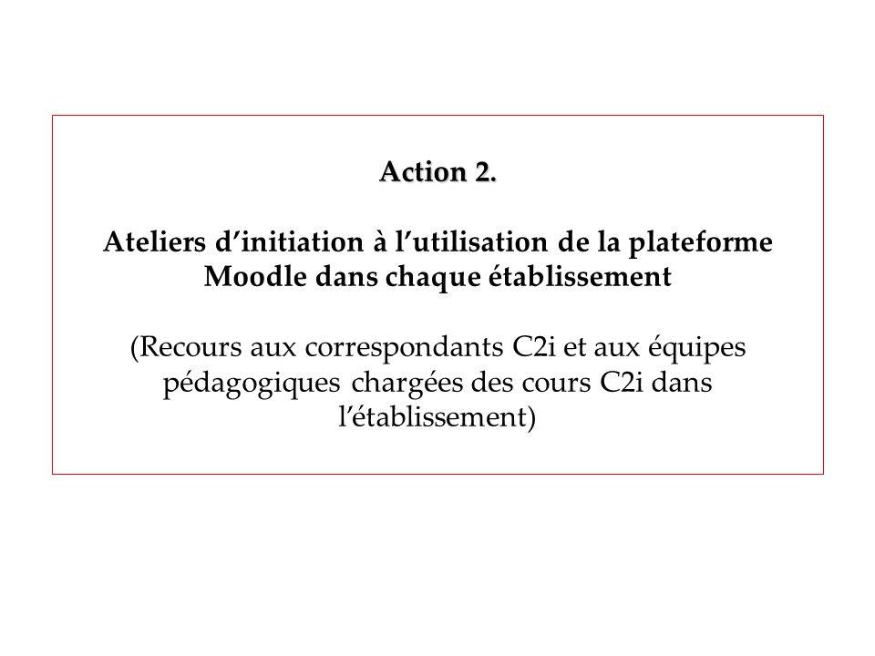 Action 2. Ateliers dinitiation à lutilisation de la plateforme Moodle dans chaque établissement (Recours aux correspondants C2i et aux équipes pédagog