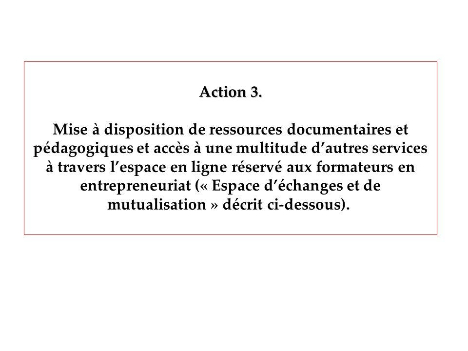 Action 3. Mise à disposition de ressources documentaires et pédagogiques et accès à une multitude dautres services à travers lespace en ligne réservé