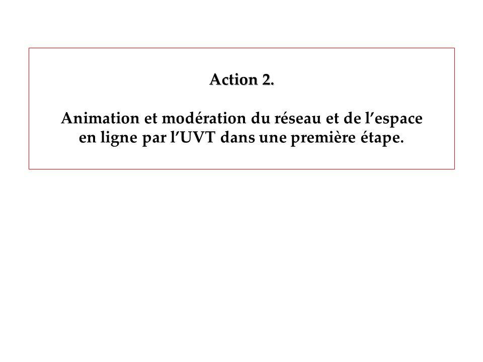 Action 2. Animation et modération du réseau et de lespace en ligne par lUVT dans une première étape.