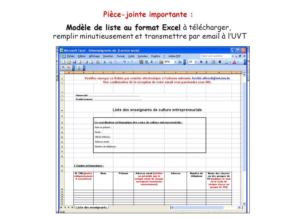 Pièce-jointe importante : Modèle de liste au format Excel Modèle de liste au format Excel à télécharger, remplir minutieusement et transmettre par ema