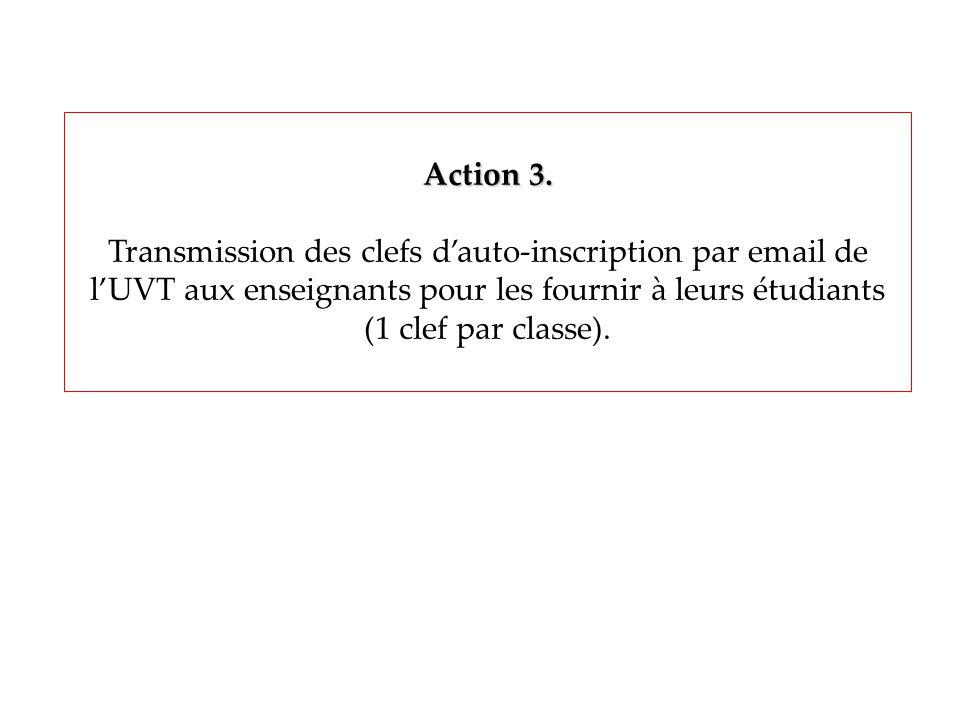Action 3. Transmission des clefs dauto-inscription par email de lUVT aux enseignants pour les fournir à leurs étudiants (1 clef par classe).