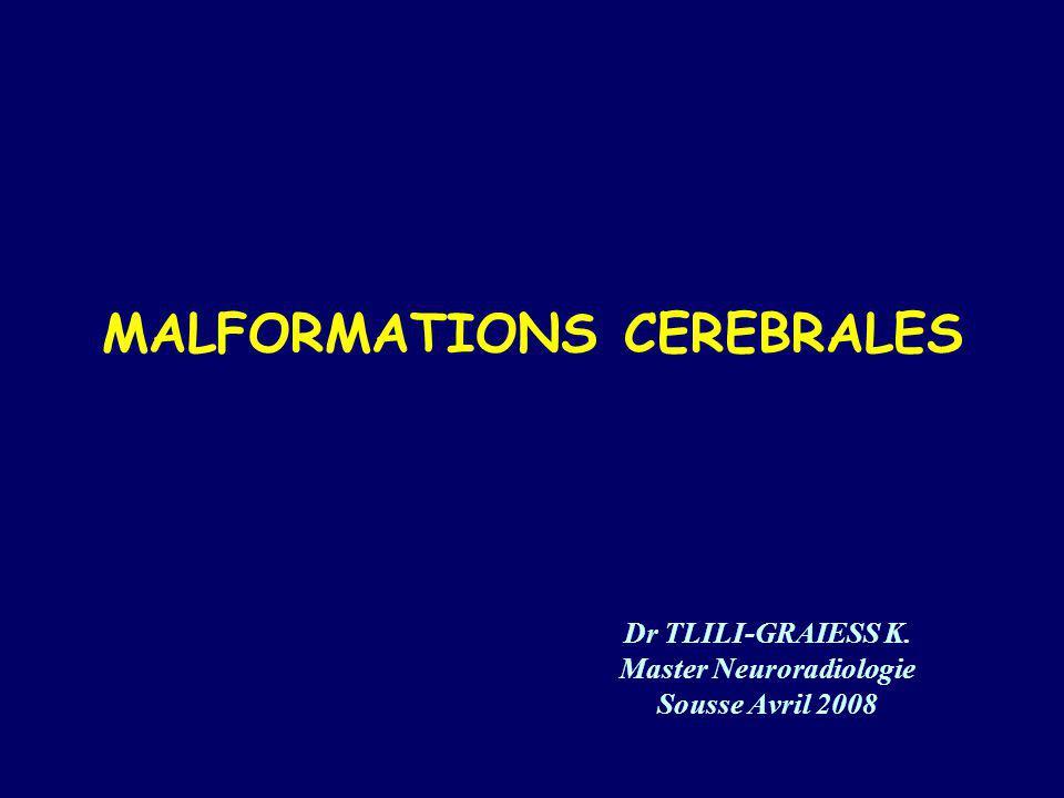 Malformations <<< Perturbation de la morphogenèse normale Leur reconnaissance et leur identification revient à limagerie >>> conseil génétique Leur classification et anatomie exige une connaissance de la morphogenèse normale IRM: Place de plus en plus prépondérante dans lexploration du SNC Echographie: Fœtus, nouveau-né et nourrisson Débrouillage+++ TDM: relais dans ce même but