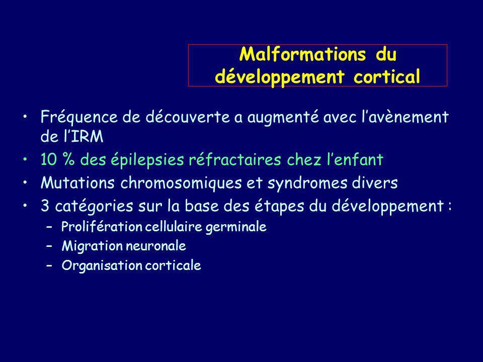 Nette augmentation : épilepsies classées cryptogéniques Incluent de très nombreuses anomalies et lésions : –Agyrie – pachygyries –Polymicrogyries (focale, diffuse…) –Schizencéphalie –Anomalies mineures de la gyration –Hétérotopies neuronales (sus épendymaires, sous corticale…) –Dysplasie corticale focale –Lésions de la STB –DNET –Hamartome hypothalamique classification BARKOVITCH 2001 (AJNR 2001): Révision de celle 1996(Neuropediatrics) Malformations du développement cortical