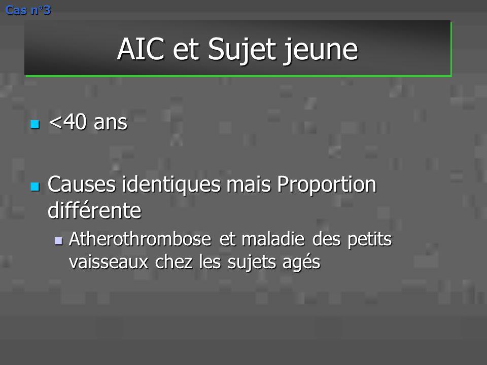AIC et Sujet jeune <40 ans <40 ans Causes identiques mais Proportion différente Causes identiques mais Proportion différente Atherothrombose et maladi