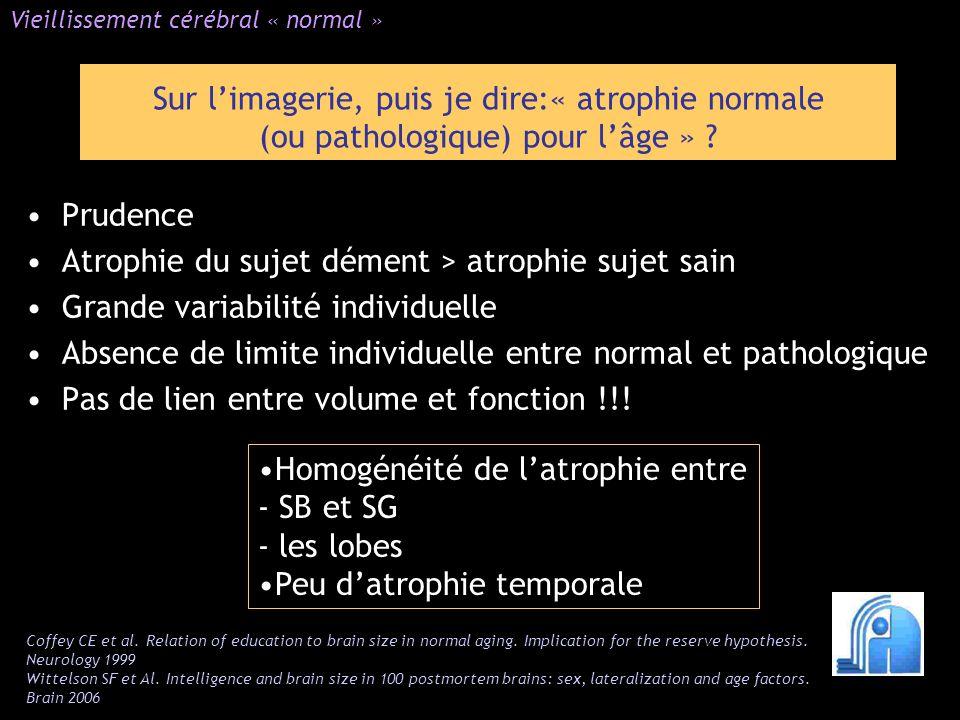Prudence Atrophie du sujet dément > atrophie sujet sain Grande variabilité individuelle Absence de limite individuelle entre normal et pathologique Pa