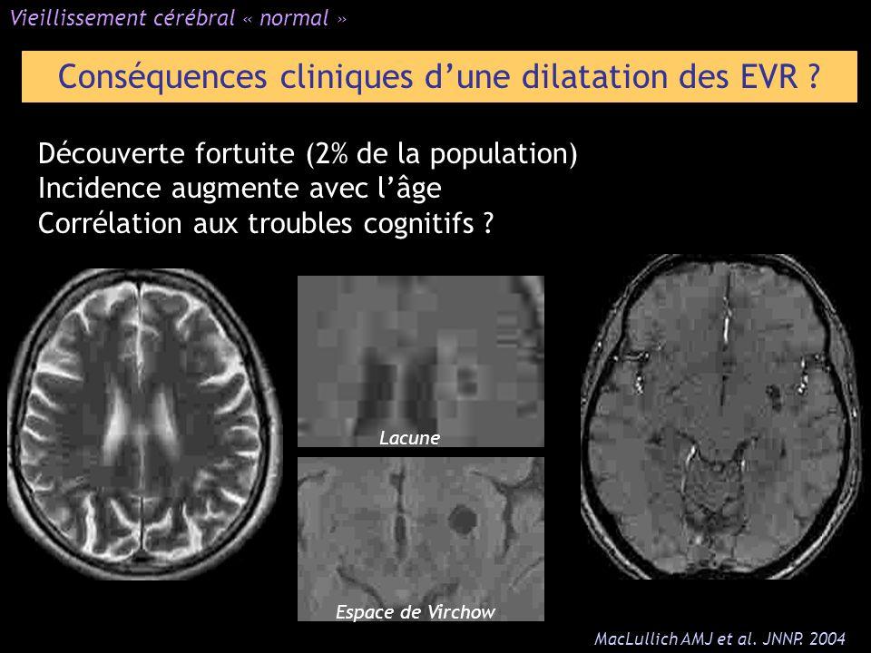Découverte fortuite (2% de la population) Incidence augmente avec lâge Corrélation aux troubles cognitifs ? Vieillissement cérébral « normal » Conséqu