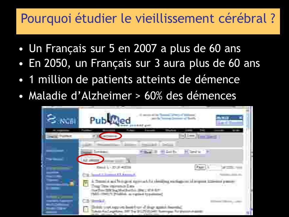 Pourquoi étudier le vieillissement cérébral ? Un Français sur 5 en 2007 a plus de 60 ans En 2050, un Français sur 3 aura plus de 60 ans 1 million de p