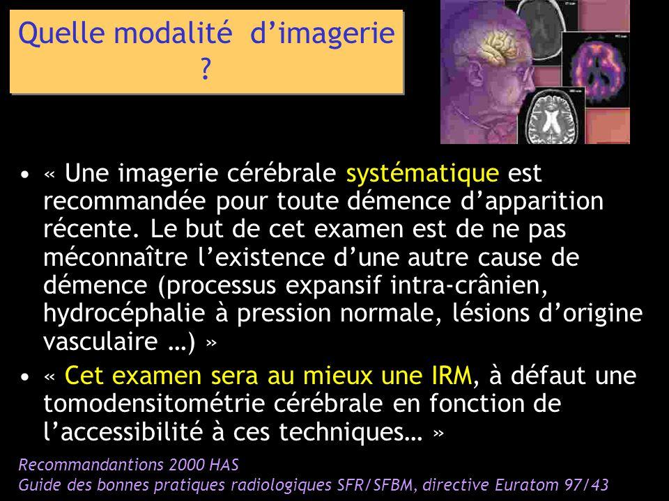 « Une imagerie cérébrale systématique est recommandée pour toute démence dapparition récente. Le but de cet examen est de ne pas méconnaître lexistenc