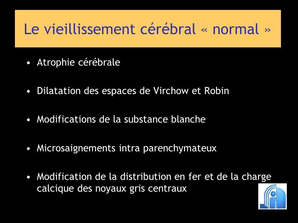 Atrophie - du cortex (3 cm 3 /an) = élargissement des sillons, des citernes - de la SB (3 cm 3 /an) = élargissement des ventricules Visible 50 ans, habituelle à 60 ans mais inconstante Phénomène visuellement harmonieux Atrophie cérébrale Vieillissement cérébral « normal » Coffey CE et al.