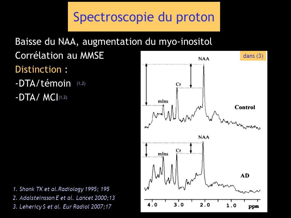 Baisse du NAA, augmentation du myo-inositol Corrélation au MMSE Distinction : -DTA/témoin (1,2) -DTA/ MCI (1,2) Spectroscopie du proton 1. Shonk TK et