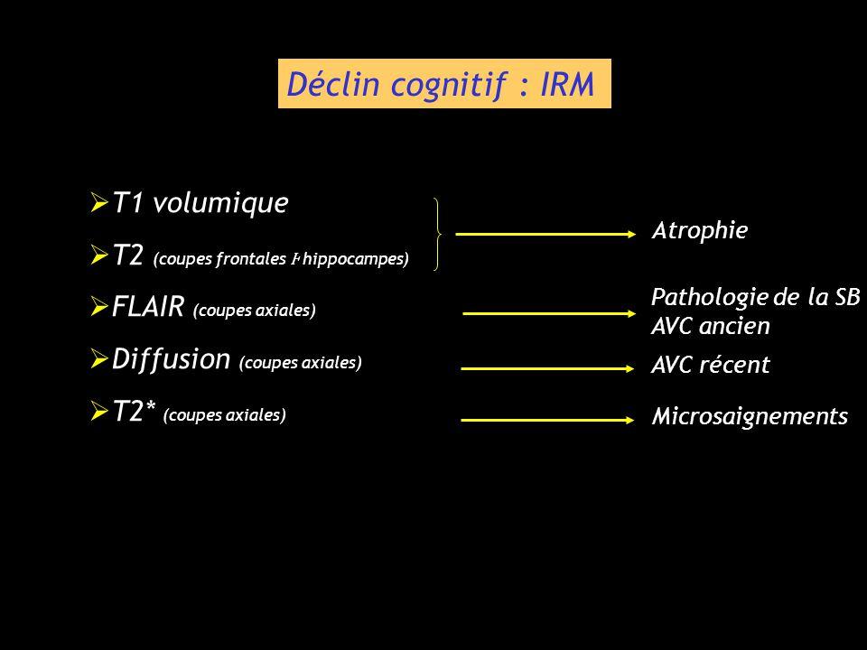 T1 volumique T1 volumique T2 (coupes frontales hippocampes) T2 (coupes frontales hippocampes) FLAIR (coupes axiales) FLAIR (coupes axiales) Diffusion
