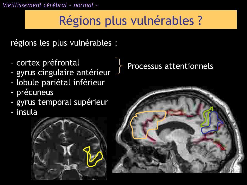 Régions plus vulnérables ? Vieillissement cérébral « normal » régions les plus vulnérables : - cortex préfrontal - gyrus cingulaire antérieur - lobule