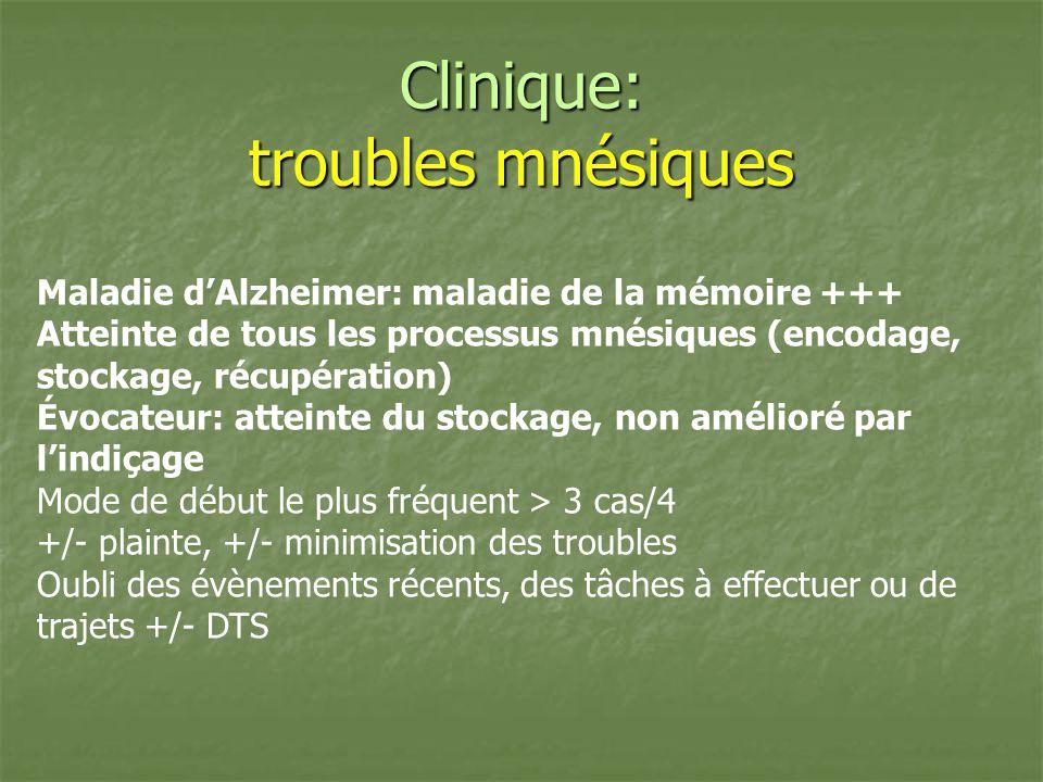 Clinique: troubles mnésiques Maladie dAlzheimer: maladie de la mémoire +++ Atteinte de tous les processus mnésiques (encodage, stockage, récupération)