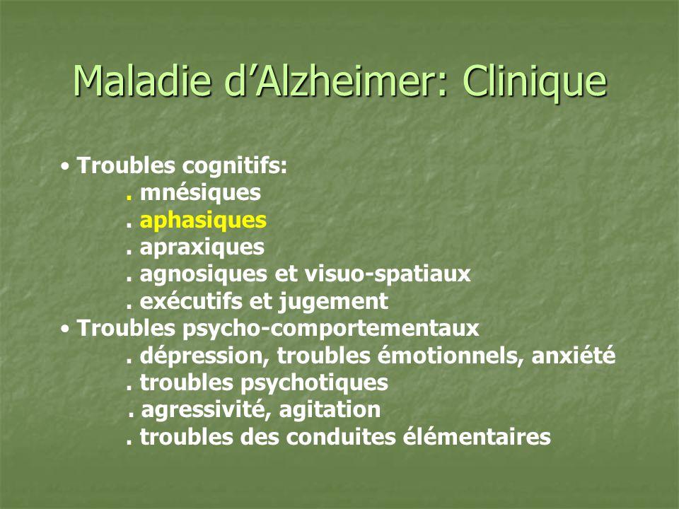 Maladie dAlzheimer: Clinique Troubles cognitifs:. mnésiques. aphasiques. apraxiques. agnosiques et visuo-spatiaux. exécutifs et jugement Troubles psyc
