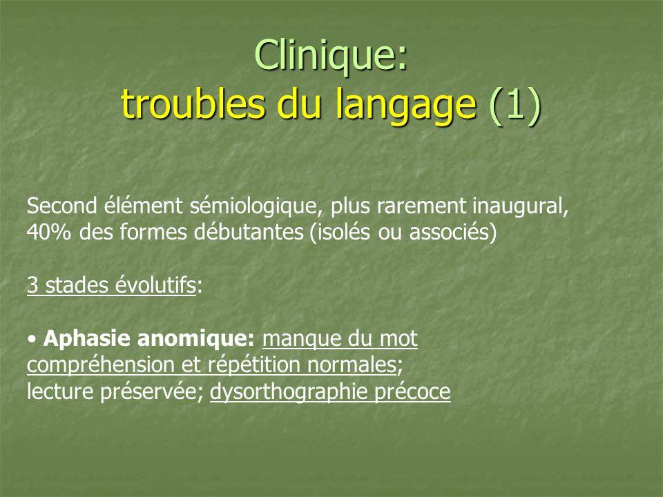 Clinique: troubles du langage (1) Second élément sémiologique, plus rarement inaugural, 40% des formes débutantes (isolés ou associés) 3 stades évolut