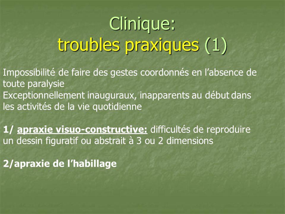 Clinique: troubles praxiques (1) Impossibilité de faire des gestes coordonnés en labsence de toute paralysie Exceptionnellement inauguraux, inapparent