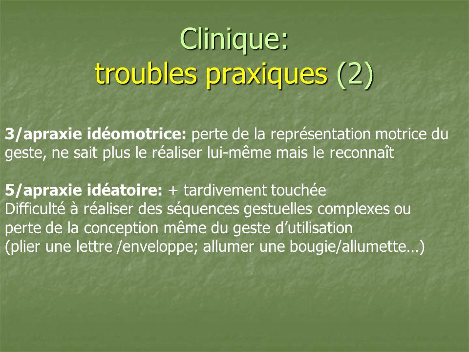 Clinique: troubles praxiques (2) 3/apraxie idéomotrice: perte de la représentation motrice du geste, ne sait plus le réaliser lui-même mais le reconna