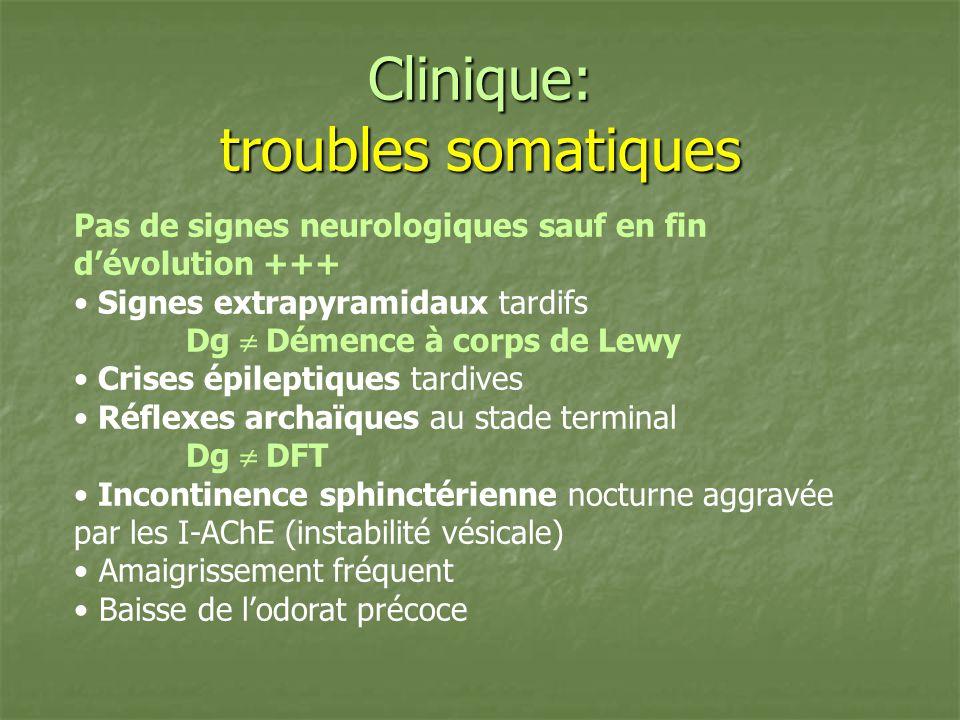 Clinique: troubles somatiques Pas de signes neurologiques sauf en fin dévolution +++ Signes extrapyramidaux tardifs Dg Démence à corps de Lewy Crises
